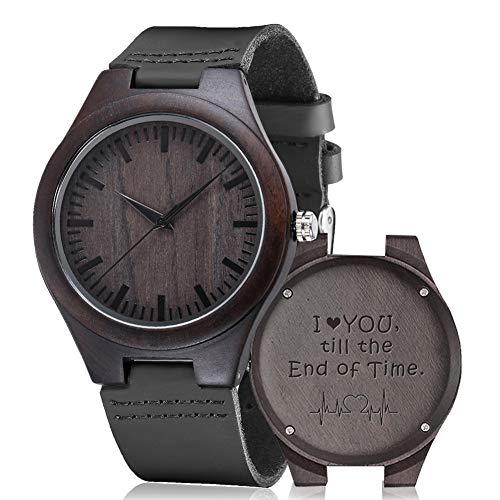 Reloj de madera grabada, shifenmei S5520 Reloj de madera personalizado para hombres, mujeres, marido, esposa, padrino, cumpleaños, boda, aniversario, graduación, Navidad, Black-For Someone You Love, Unisexo,