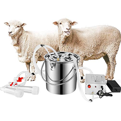 S SMAUTOP 7L Electric Pulsation Milking Machine Single Bucket Piston Vacuum Pulsation Milking Machine Goat Milking Supplies for Cows Cattle or Sheep Optional (US Plug)