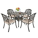 TITIMO 5-Piece Outdoor Furniture Dining Set, All-Weather Cast Aluminum Conversation Set Includes 1 Square Table and 4 Chairs with Khaki Cushions and Umbrella Hole for Patio Garden Deck, Flower Design
