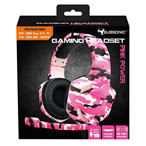 Subsonic - Pink Power Gaming Headset für Mädchen mit Mikrofon für PS5 / Xbox Serie X/S / PS4 / Xbox one/ PC / Switch