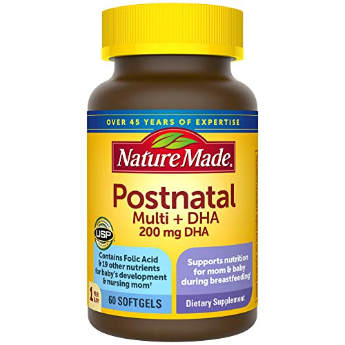 Nature Made Postnatal + DHA Softgels, 60 Count, Support for Breastfeeding Moms (Packaging May Vary)