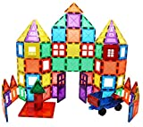 SKYMAGS 100 Piece Set Magnetic Building Tiles 3D Clear Color Blocks with Strong Magnets developes Kids Imagination, Inspiration & developes fine Motor Skills in Children