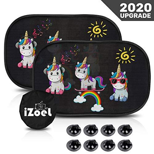 iZoeL Sonnenschutz Auto Baby Selbstklebend Autofenster Sonnenblende mit 8 Saugnäpfe für Kinder UV Schutz (Einhorn)