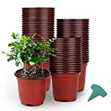 GROWNEER 120 Packs 4 Inches Plastic Plant Nursery Pots with 15 Pcs Plant Labels, Seed Starting Pot Flower Plant Container for Succulents, Seedlings, Cuttings, Transplanting