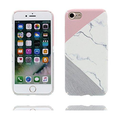 EarthNanLiuPowerTu iPhone 7 Custodia, Elegante Liscio Marmo Rosa + Bianco Design Paraurti TPU Morbido Case Silicone di Gomma Shell Cover Copertura per Apple iPhone 7 (4.7') Anti-Graffi Antiurto