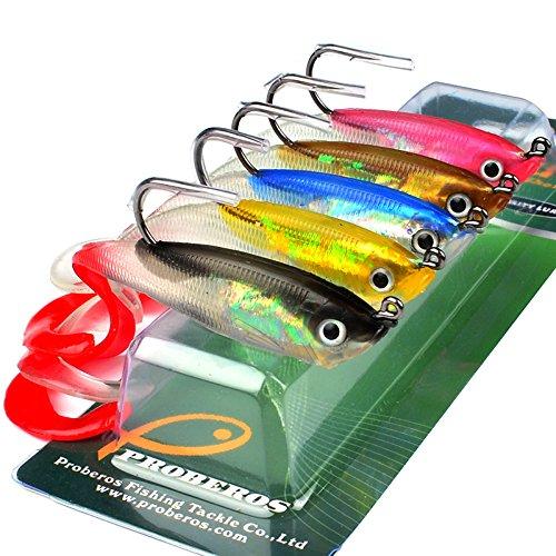 elegantstunning 5pz Set di esche da pesca 10cm 14.7g morbido silicone Grub esca artificiale esche Shank Hook