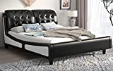 SHA CERLIN Queen Size Deluxe Upholstered Platform Bed Frame, Button Tufted Sleigh Headboard with Double Backrest, Wood Slat Support, No Box Spring Needed, (Black&White)