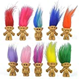 10PCS Mini Troll Dolls, PVC Vintage Trolls Lucky Doll Mini Action Figures 1.2' Cake Toppers Chromatic Adorable Cute Little Guys Collection, School Project, Arts Crafts, Party Favors