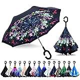 ZOMAKE Parapluie Inversé,Parapluie Canne,Double Couche Coupe-Vent, Mains Libres poignée en Forme C, Idéal pour Voiture et Voyage (Fleur de beauté)