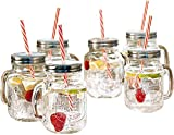 Estilo Mason Jar Mugs with Handle and Straws Old Fashioned Drinking...