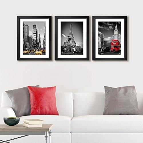 Quadro Decorativo Nova York Paris Londres Cidades Kit c/ 3uni Sala Quarto Cozinha Escritorio Moldura Paspatur