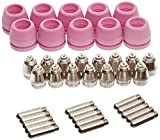 Lotos PCON40 Plasma Cutter Consumables 15 Nozzles 15 Electrodes 10 Cups for RED Color LTP5000D, LTPDC2000D and BLUE Color LTP6000 40 Pieces RED