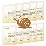 MOTHER MADE Rich Snail Deep Moisturizing Korean Face Sheet Masks Pack of 10, with Cruelty-free Snail Mucin 10,000 ppm, Collagen, Vitamin C &E, Hyaluronic Acid - Hydrating, Anti-aging, Unscented