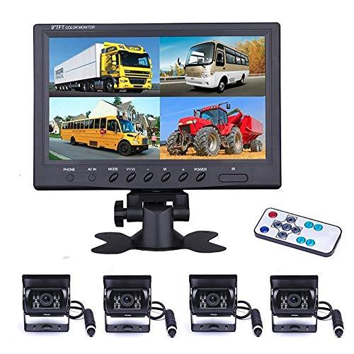 Sistema telecamera anteriore e posteriore, Telecamere posteriori notturne impermeabili Monitor LCD 9 pollici con cavi di prolunga 10M / 20M, 12V 24V per autobus/camper/Sicurezza domestica