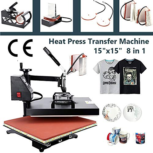 15'x15' Heat Press Machine 8 in 1 Combo kit Color LED Sublimation Heat Transfer 360-degree Rotation Professional Multifunction Combo Heat Press Machine Hat/Mug/Plate/Cap/T-Shirt Black