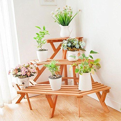 Supporto per fiori arcobaleno Mensola per fiori Scala a tre piani Scala per legno Pavimento per...