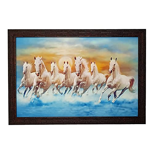 Windhya Art Seven Horses Vastu Wall Painting Sparkle Photo with Synthetic Frame (14 x 20 Inch, Multicolor)