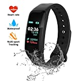 Fitness Tracker, Color Screen Activity Tracker with Blood Pressure Blood Oxygen,IP67 Waterproof Smart Watch with Heart Rate Sleep Monitor Calorie Counter Pedometer for Men, Women and Kids (Black)