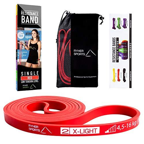Ryher Bande Elastiche Resistenza Pull up - Elastici Fitness per trazioni casa e Palestra -Banda Allenamento per Fitness, Crossfit, Bodybuilding, Stretching (Singola: #2 Rossa - da 4,5 a 16 kg)
