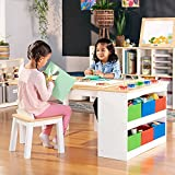 Guidecraft Arts and Crafts Center: Kids Activity Table and Drawing Desk with Stools, Storage Bins,...