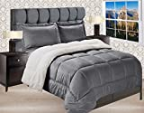 Elegant Comfort Premium Quality Heavy Weight Micromink Sherpa-Backing Reversible Down Alternative Micro-Suede 2-Piece Comforter Set, Twin, Grey