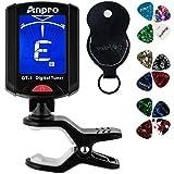 Anpro GT-1 Accordeur de Guitare Tuner 360 Degrés Rotation Digital Timbre Ecran LCD 12PCS Médiators...