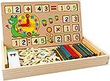 Babyhelen Montessori Boîte d'apprentissage de Math, Jouets Educatifs Scientifiques Tableau en Bois, Jouet de Maternelle, Jouet Compter Horloge Chiffres, Parfait Cadeau Enfant
