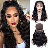 Human Hair 360 Lace Frontal Wigs Pre Plucked Brazilian Virgin Human Hair Lace Frontal Wigs With Baby Hair For Black Women Natural Black Color (16 inch, 150% Density)