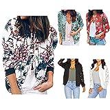 Veste Femme Printemps, Mode Décontractée Manche Longue Impression Fermeture éclair Vestes pour Femme, Vintage Cardigan Blouson