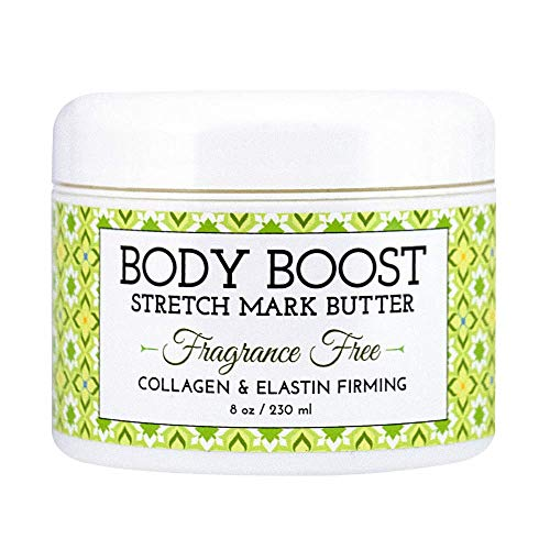 Body Boost Fragrance Free Stretch Mark Butter, 8 oz-Repair Stretch Marks and Scars- Clinically Proven Ingredients- Pregnancy and Nursing Safe