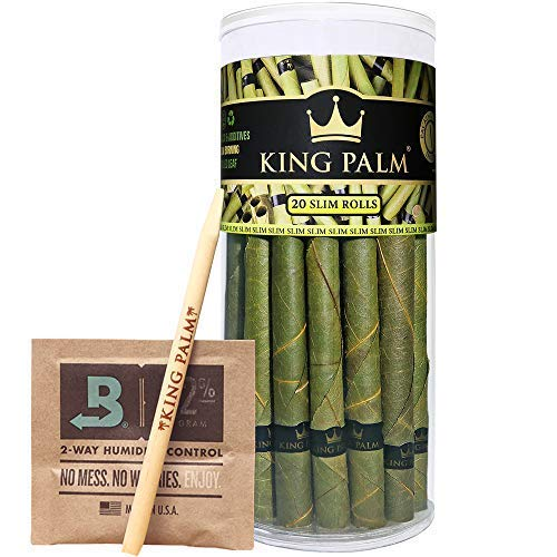King Palm Slim Size Leafs | 20 Pack | Natural Slow Burning Pre-Rolled Palm Leafs with Filter Tip
