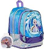 Mochila escolar Frozen II Reina de los Hielos Turue To Muself Round XL redonda original nueva colección con personaje + llavero girabrisas + 10 bolígrafos con purpurina + marcapáginas