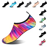 Mens Womens Water Shoes Barefoot Beach Pool Shoes Quick-Dry Aqua Yoga Socks for Surf Swim Water Sport (Colorful, 38/39EU)