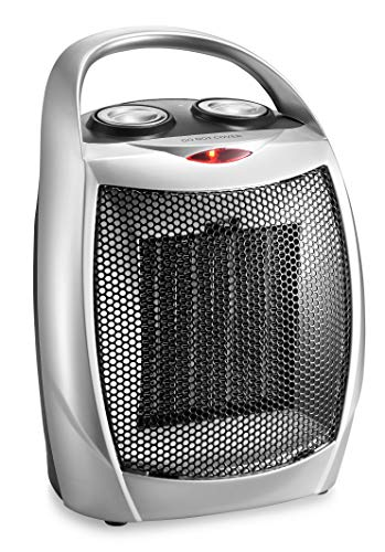 HOME_CHOICE Small Ceramic Space Heater Electric Portable Heater Fan for Home Dorm Office Desktop and kitchen with Adjustable Thermostat,ETL Listed for Safe Use (Black)
