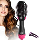 Hot Air Brush, One Step Hair Dryer & Volumizer, 4-IN-1 Salon Negative lon Styling Hair Dryer Brush, Ceramic Electric Blow Dryer, Curler, Straightener, Styler Brush with 2Pcs Hair Clips