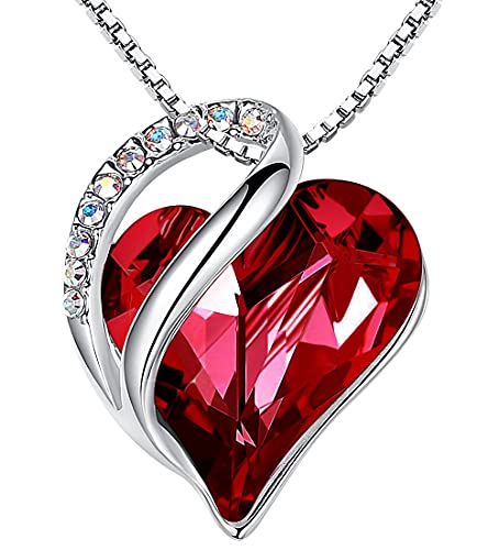 Leafael Infinity Love Heart Pendant Necklace with Siam Ruby...
