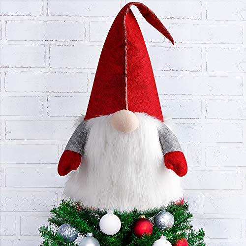 Adorno de árbol de Navidad D-FantiX Gnome, 25 pulgadas, grande, sueco, Tomte Gnome, adornos navideños, gnomos de Papá Noel, felpa, decoración navideña escandinava, decoración para el hogar, rojo