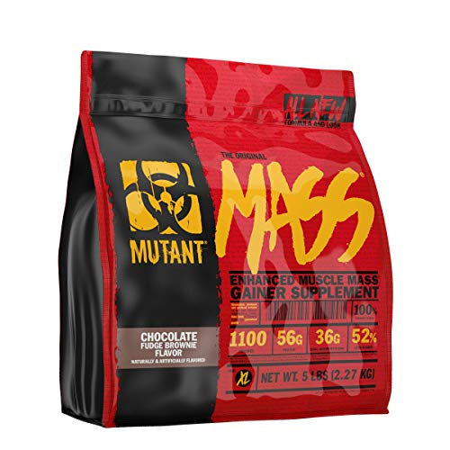 Mutant Mass Weight Gainer Protein Powder  Build Muscle Size and Strength with 1100 Calories  56 g Protein  26.1 g EAAs  12.2 g of BCAAs  5 lbs  Chocolate Fudge Brownie