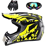 Youth Off-Road Motorcycle Helmets,Children's Helmets for Off-Road Motorcross and Mountain Bikes,Comfortable and Light Weight, DOT Quality Certification,Yellow,S