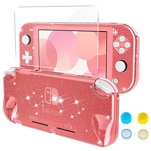 HEYSTOP Kristall Hülle Kompatibel mit Nintendo Switch Lite,Rosa Glitter Bling Schutzhülle Kompatibel mit Switch Lite Konsole,mit Schutzfolie und Daumenkappen