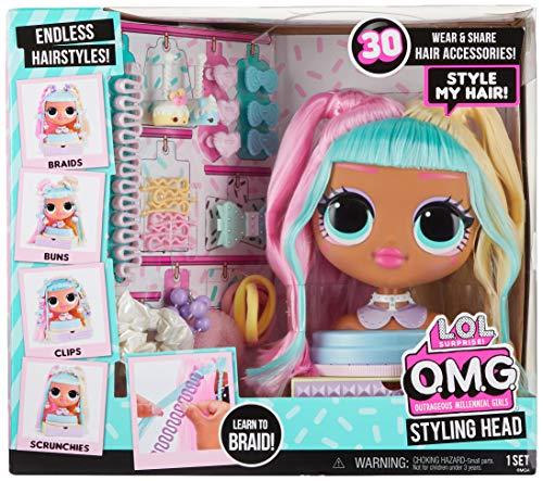 Image 1 - L.O.L. Surprise!- LOL OMG Tête à coiffer dotée de Cheveux enracinés pour des coiffures infinies-30 Surprises et Accessoires-Candylicious, 572008EUC
