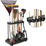 Byhoo 40 Tool Tower Garage Storage Holder, Luxury & Multifunctional - One Step to Get A Clean Space, Perfect for Garden Corner Workshop Space Organizer Broom Long-Handle Tool Rack with Casters, Black