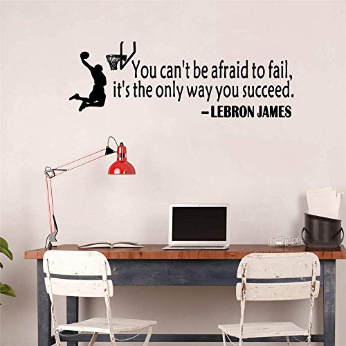 Ewdsqs Lebron James Quote Basketball Wall Sticker Art Sport Wallpaper Home Decor You Can't Be Afraid to Fail It's The Only Way You Succeed Basketball Sports Motivational Saying Wall Decal
