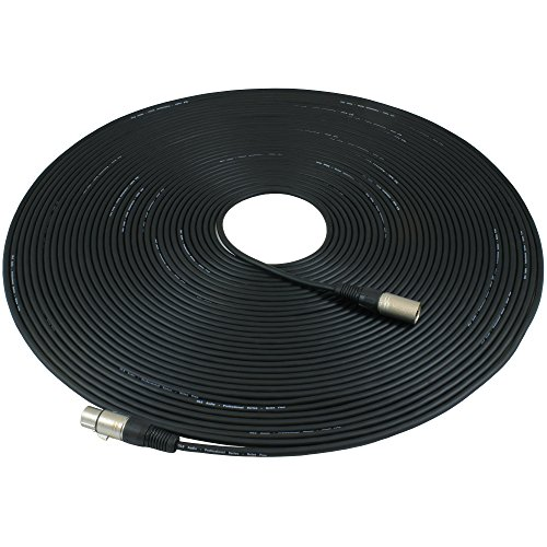 GLS Audio 100ft Mic Cable Patch Cords - XLR Male to XLR Female Black Microphone Cables - 100' Balanced Mike Snake Cord - Single