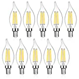Defurhome E12 LED Candelabra Bulbs, 60W Equivalent, Flame Tip, 5W, 550LM, Daylight White 5000K, Non-Dimmable, Decoration Glass Light Bulbs, Chandelier Filament Bulb, Pack of 10