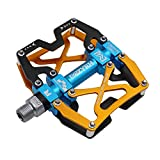 MZYRH Mountain Bike Pedals, Ultra Strong Colorful CNC Machined 9/16' Cycling Sealed 3 Bearing Pedals(Black Blue Glod 3 Bearings)