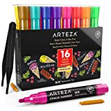 ARTEZA Liquid Chalk Markers Set of 16 (16 Bright Colors, 16 Replaceable Chisel Tips, 1 pc Tweezers, 50 Labels, 2 Sticky Stencils) - Dust-Free - Water Based Chalkboard Markers - Non Toxic – Multi-Use