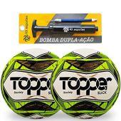 AX Esportes Kit 2 Bolas de Society Topper Slick e 1 Bomba Único, BRANCO/VERDE