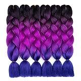 6 Pack Ombre Braiding Hair 100% Kanekalon Jumbo Braiding Hair 24 Inch Hair Extensions for Braiding (Black-Purple-Blue)