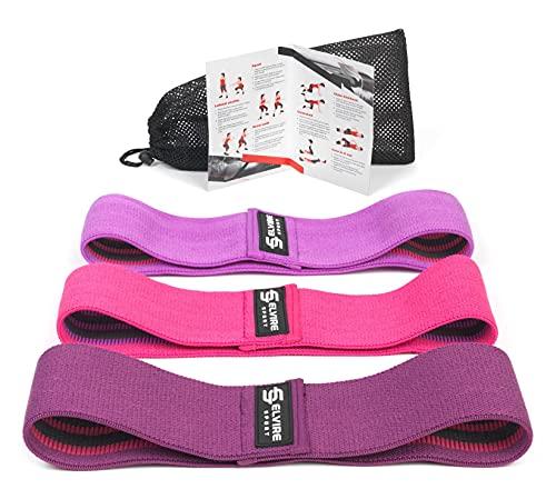 ELVIRE SPORT Bande Elastiche Fitness (3 Pezzi): Bande Elastiche Resistenza in Tessuto, per Glutei, Fianchi e Gambe | Fasce per Yoga, Pilates, Crossfit, Fisioterapia e Riabilitazione | Uomini e Donne